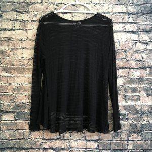 Black See-Through Long Sleeve Shirt - Medium